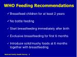who feeding recommendations