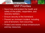 nrp priorities