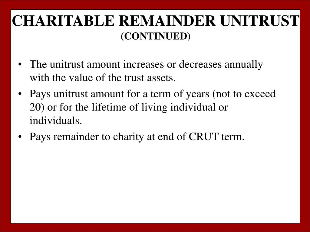 CHARITABLE REMAINDER UNITRUST