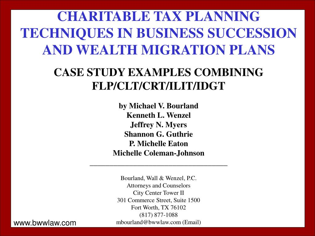 CHARITABLE TAX PLANNING TECHNIQUES IN BUSINESS SUCCESSION AND WEALTH MIGRATION PLANS