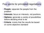 four points for principled negotiations