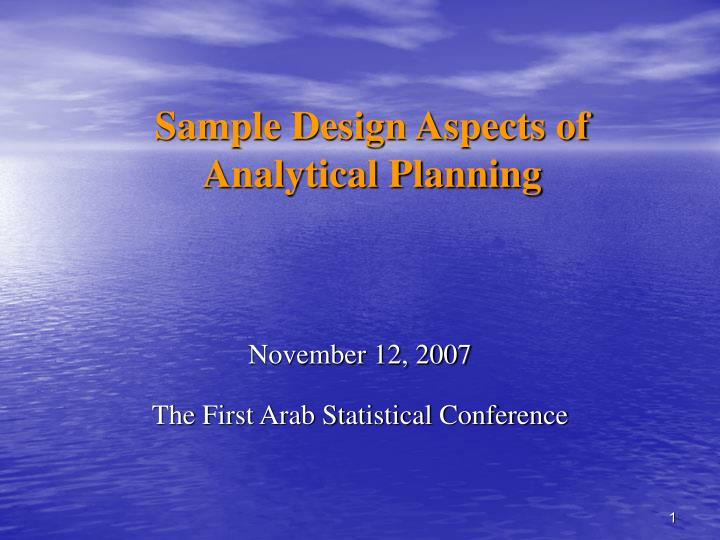 sample design aspects of analytical planning n.