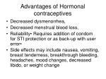 advantages of hormonal contraceptives