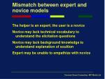 mismatch between expert and novice models