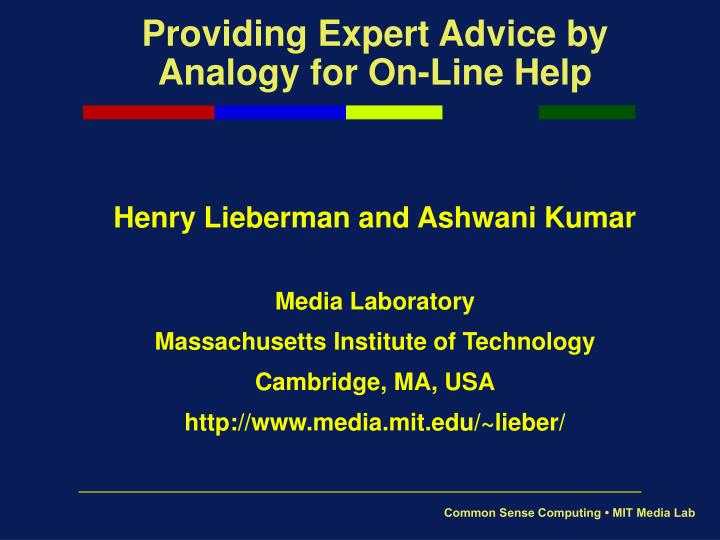 providing expert advice by analogy for on line help n.