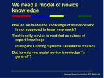 we need a model of novice knowledge