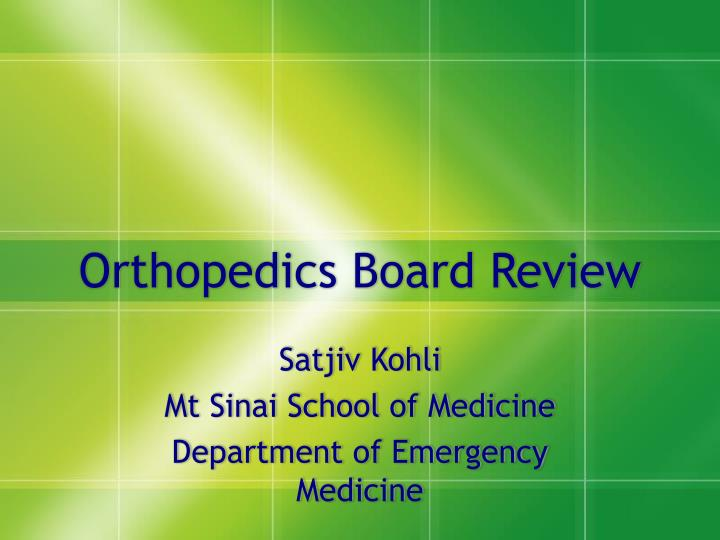 orthopedics board review n.