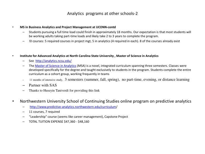 Analytics programs at other schools 2
