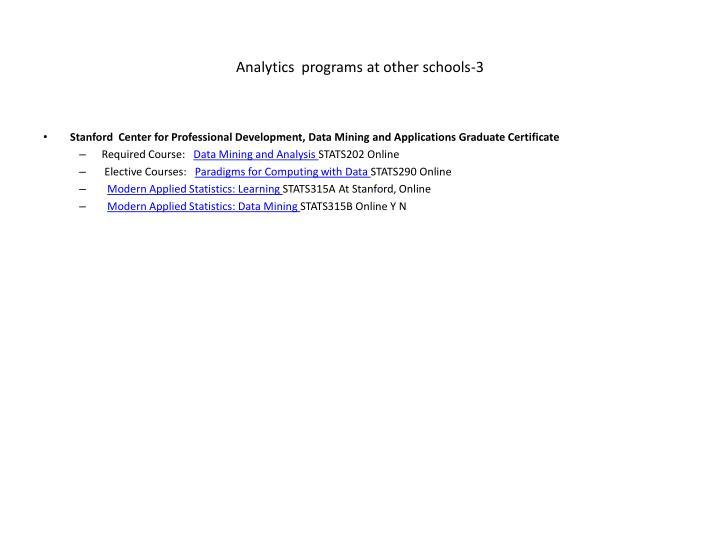 Analytics  programs at