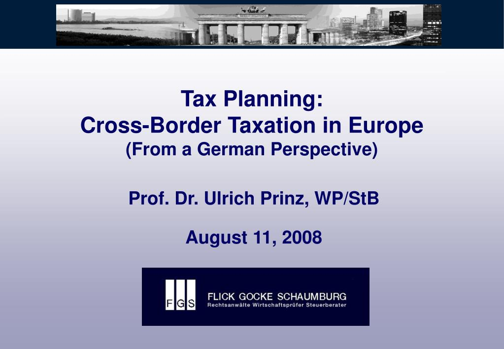 tax planning cross border taxation in europe from a german perspective l.