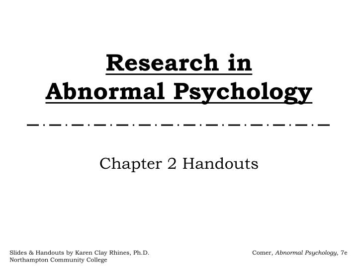 research in abnormal psychology n.