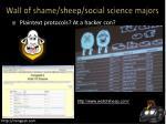 wall of shame sheep social science majors