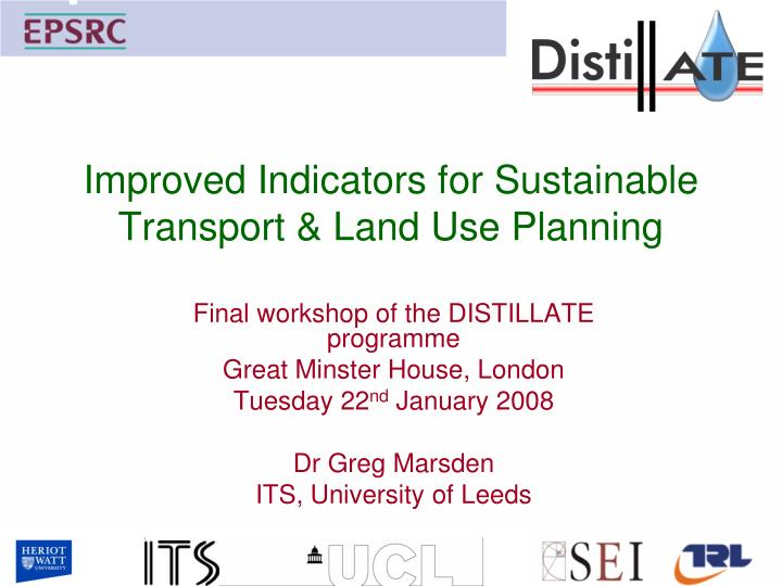 improved indicators for sustainable transport land use planning n.