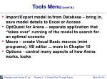 tools menu cont d