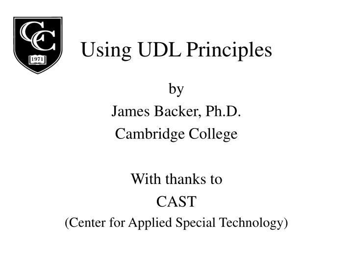 using udl principles n.