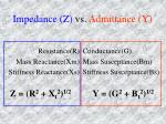 impedance z vs admittance y