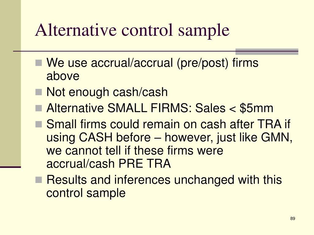Alternative control sample