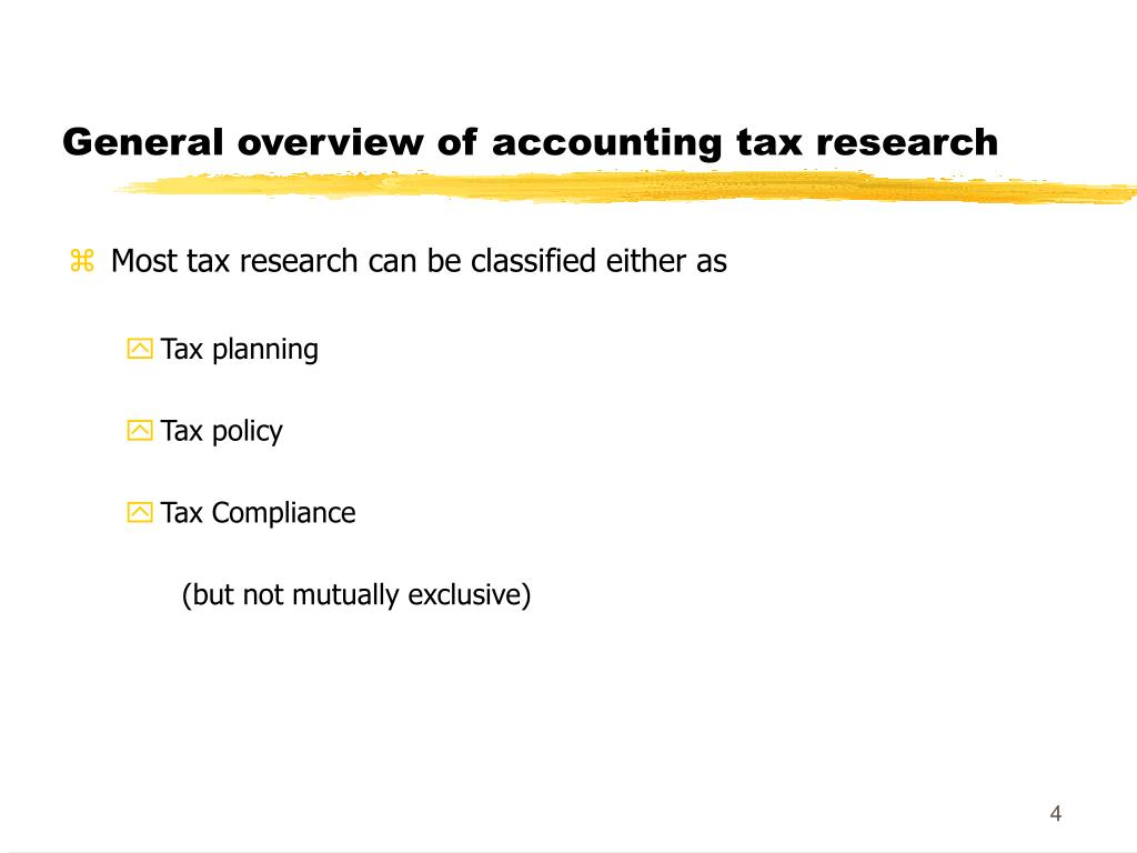General overview of accounting tax research