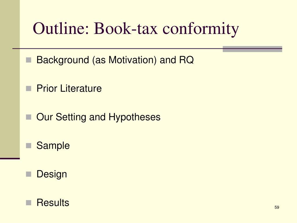 Outline: Book-tax conformity