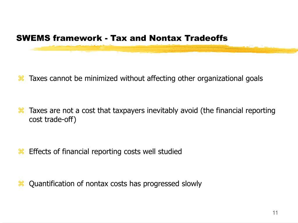 SWEMS framework - Tax and Nontax Tradeoffs