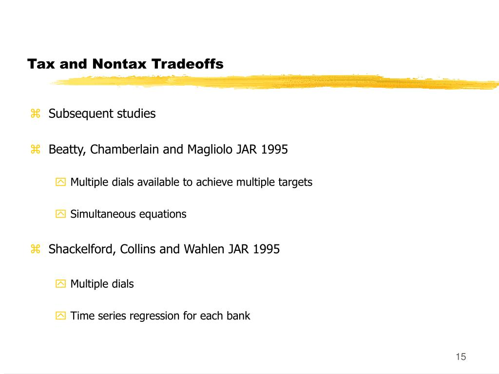 Tax and Nontax Tradeoffs