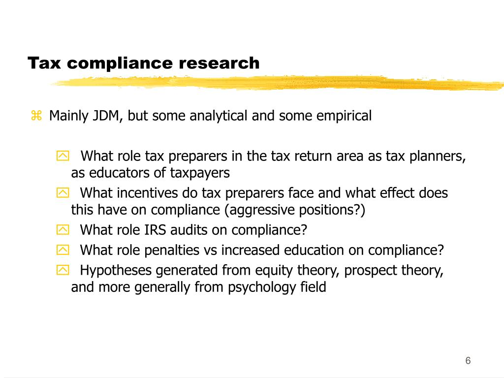 Tax compliance research