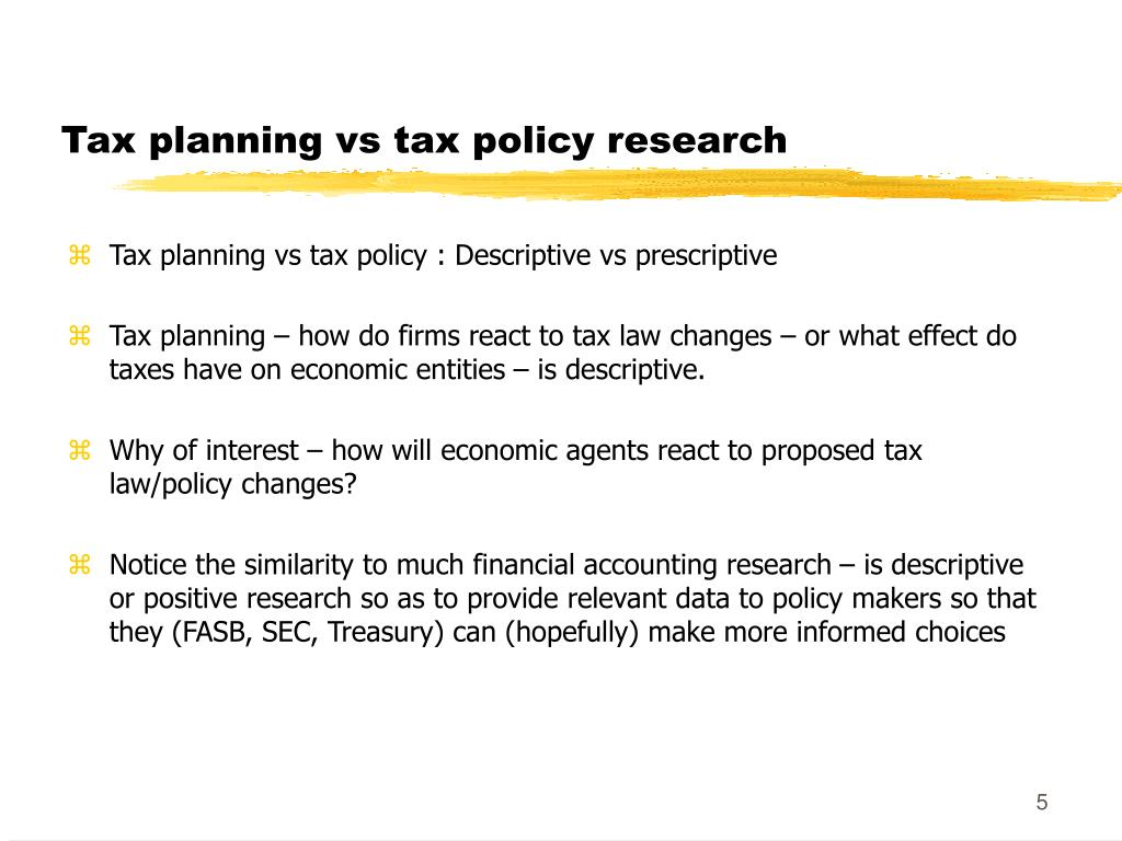 Tax planning vs tax policy research