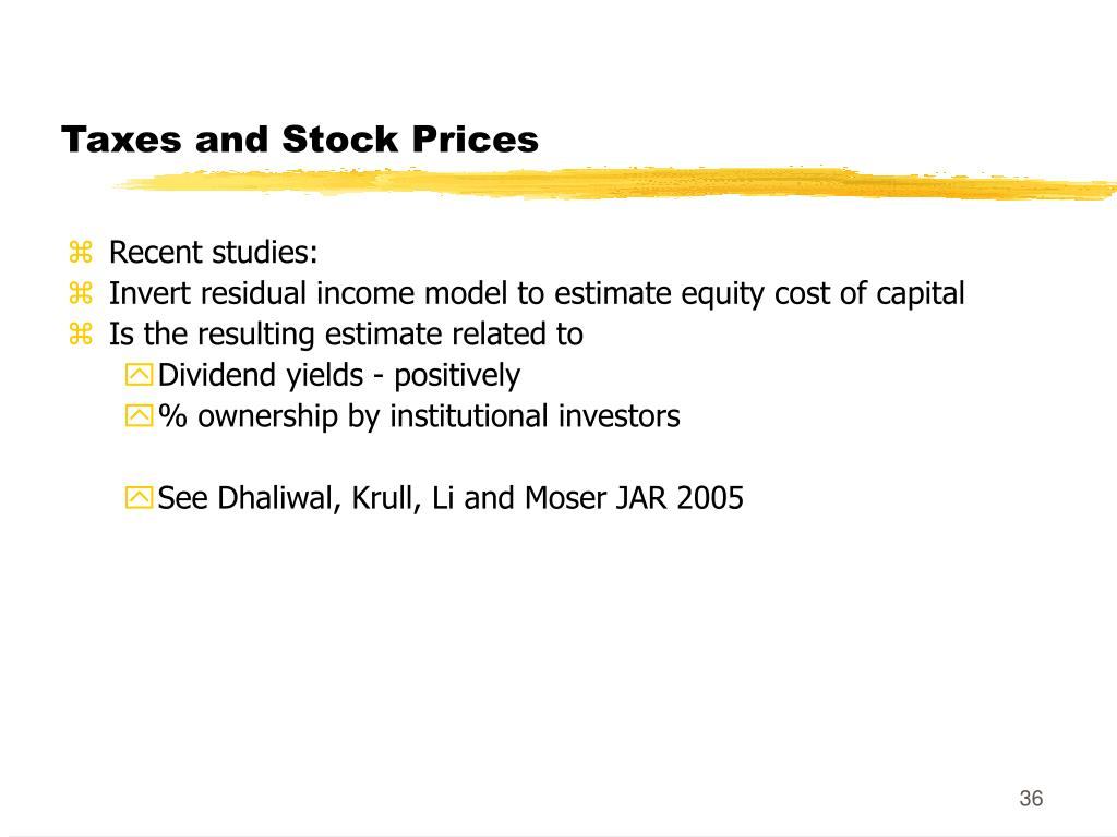 Taxes and Stock Prices