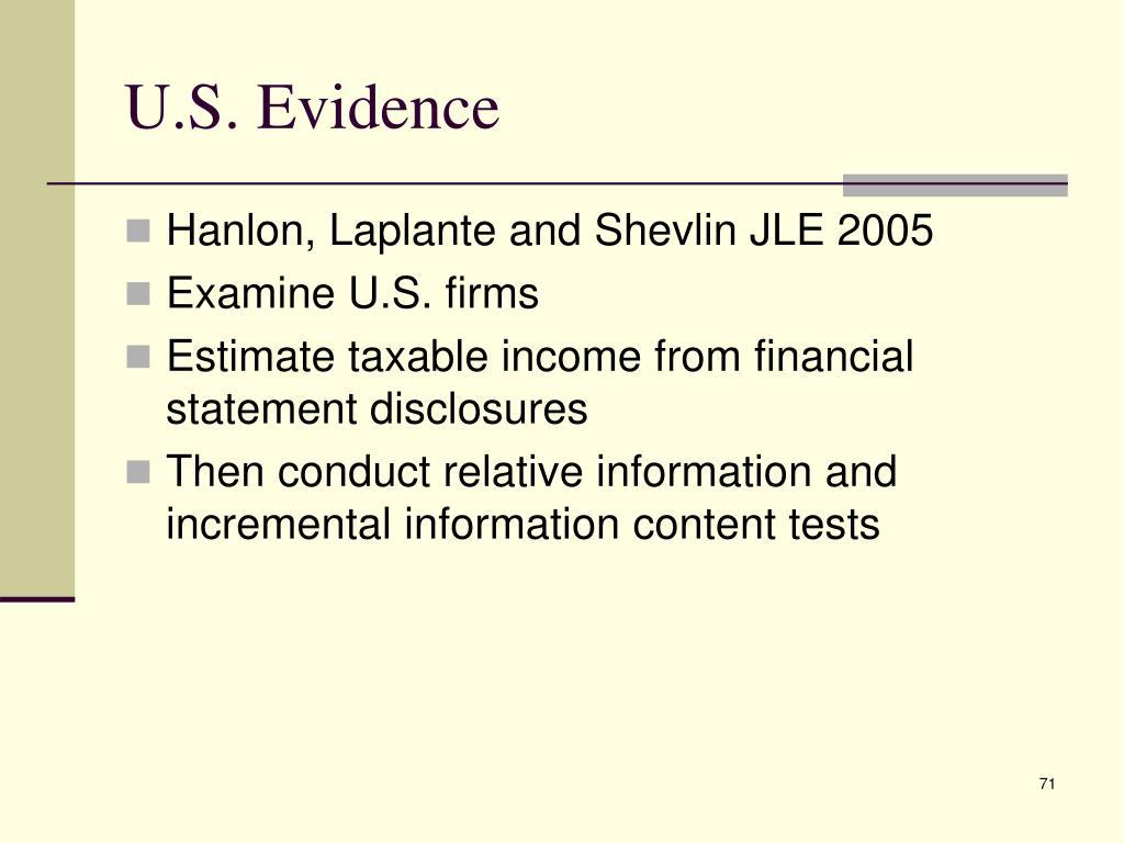 U.S. Evidence