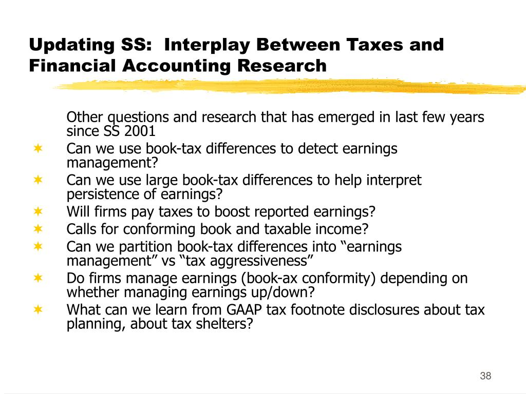 Updating SS:  Interplay Between Taxes and Financial Accounting Research
