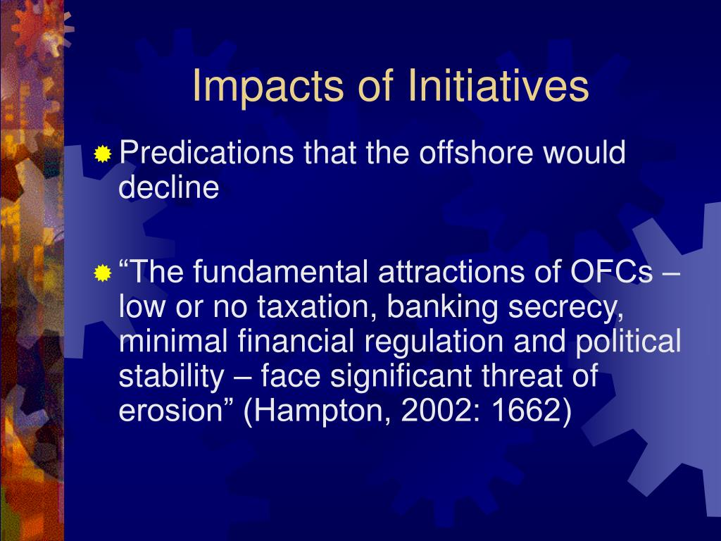 Impacts of Initiatives