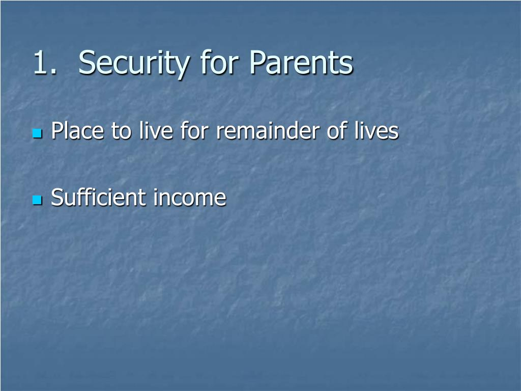 1.  Security for Parents