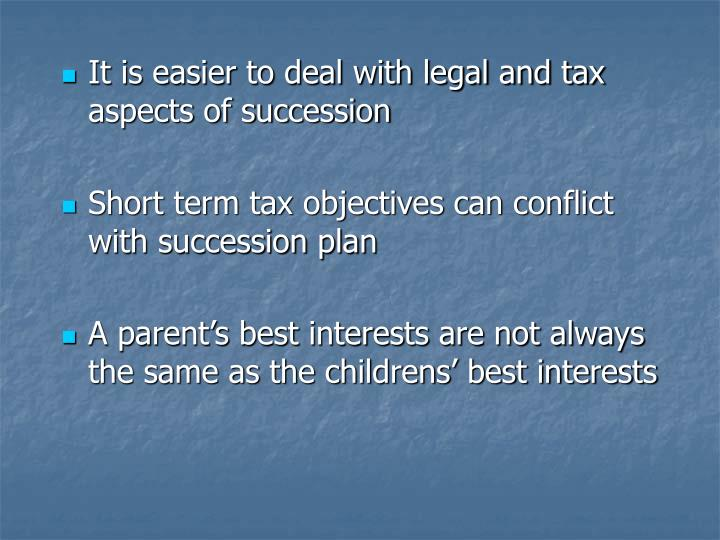 It is easier to deal with legal and tax aspects of succession