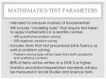 mathematics test parameters