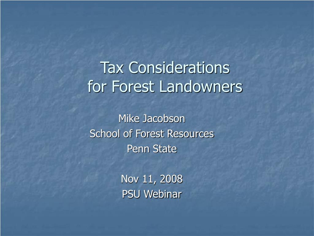 tax considerations for forest landowners l.