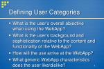 defining user categories