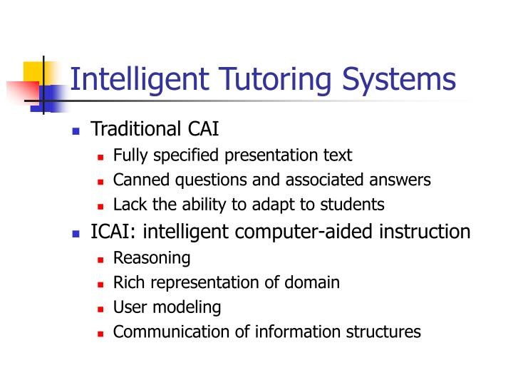 intelligent tutoring systems n.
