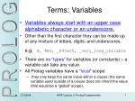 terms variables
