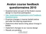 avalon course feedback questionnaires 2010