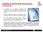 quality control and assurance continued