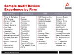 sample audit review experience by firm