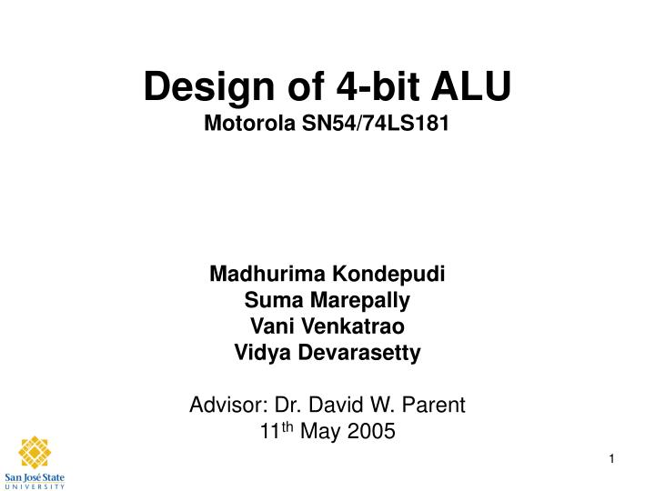 design of 4 bit alu motorola sn54 74ls181 n.