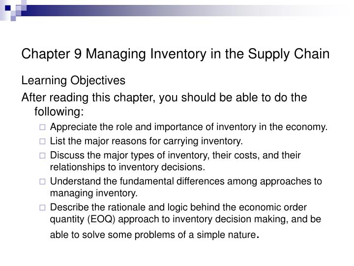 chapter 9 managing inventory in the supply chain n.