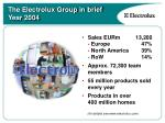 the electrolux group in brief year 2004