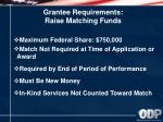 grantee requirements raise matching funds