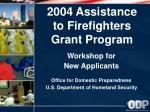 workshop for new applicants office for domestic preparedness u s department of homeland security