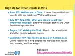 sign up for other events in 2012