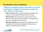 the business value of wellness