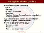 the appeals process cont d