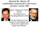 marshall bj warren jr unidentified curved bacilli in the human stomach lancet 1984